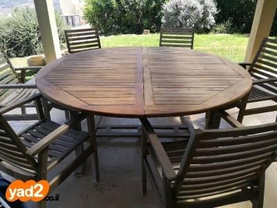 להפליא שולחן עץ עגול בקוטר 1 לגינה ריהוט יד שניה - ad ZF-53